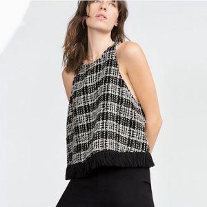Zara Woman Black & White Crop Top